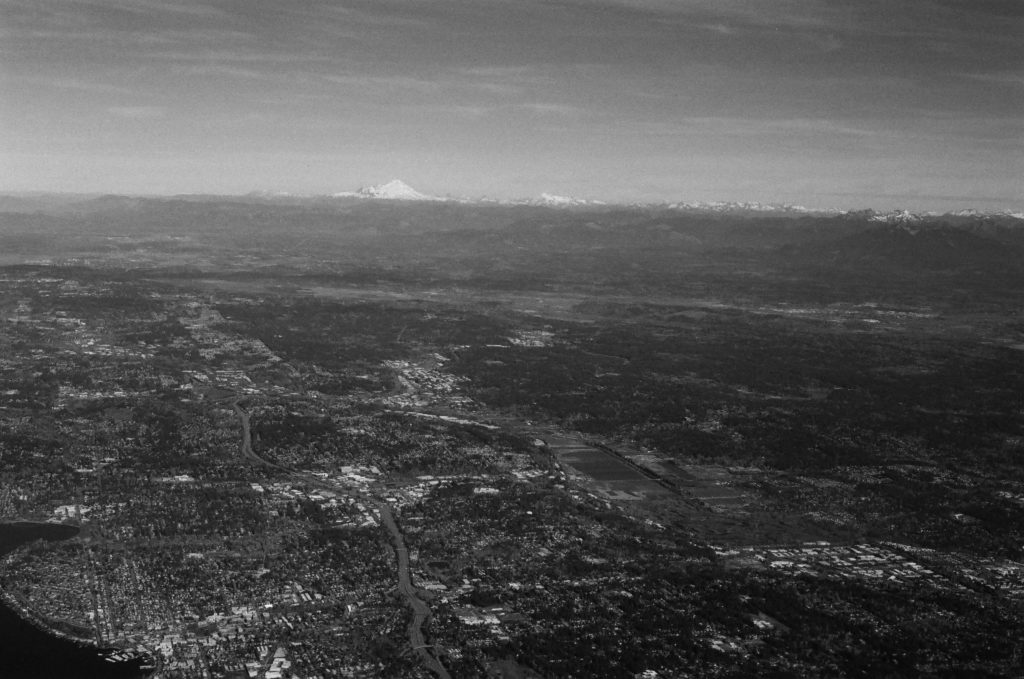 black and white 35mm picture of Mount Rainier