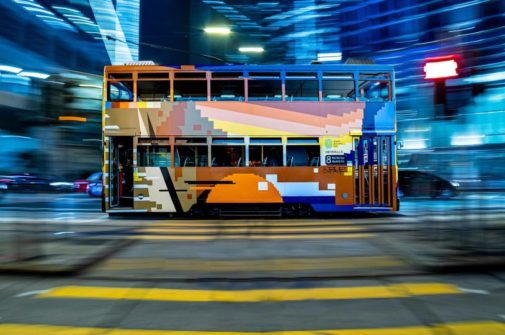 A double decker tram by Hong Kong graffiti artist Xeme