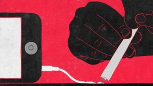 image by sergio ingravalle of someone snorting the charger of a mobile phone